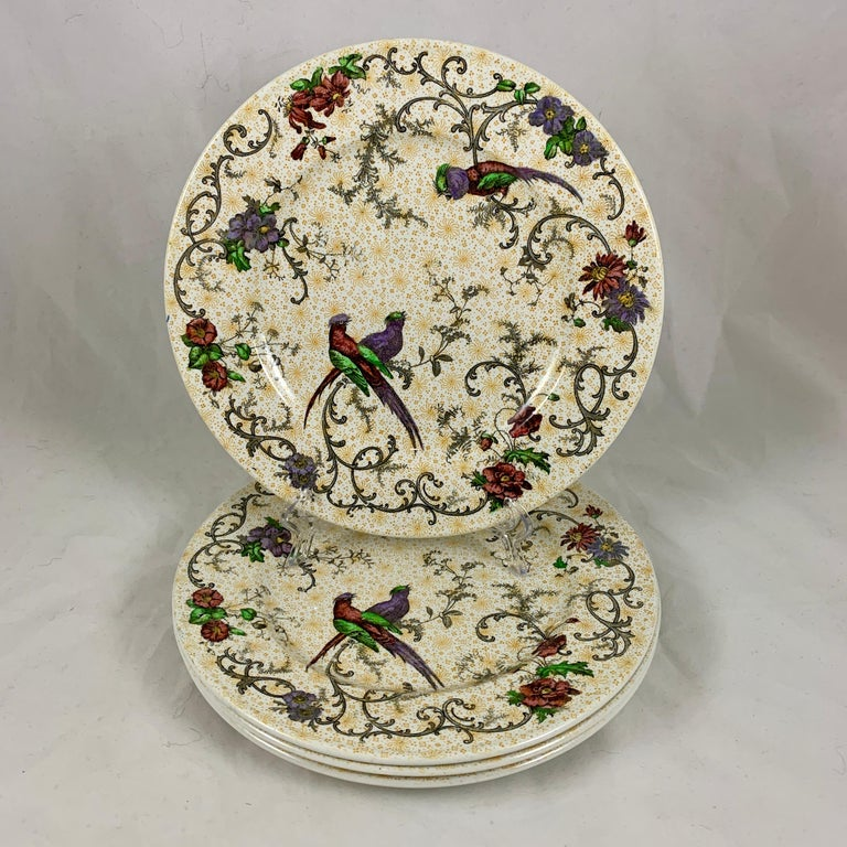 Cauldon English Chinoiserie 'Bird of Paradise' Chintz Transferware Plates, S/4 For Sale 3