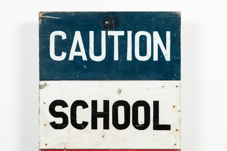 Chunky red, white and blue hand painted school safety zone sign. Super graphic and bold. Nice thick construction.