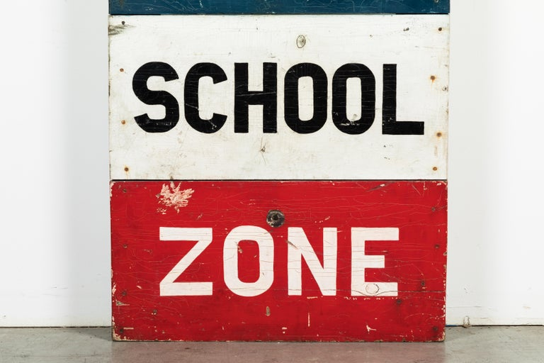 Folk Art Caution School Zone WPA Style Wood Sign Red White and Blue Hand Painted For Sale
