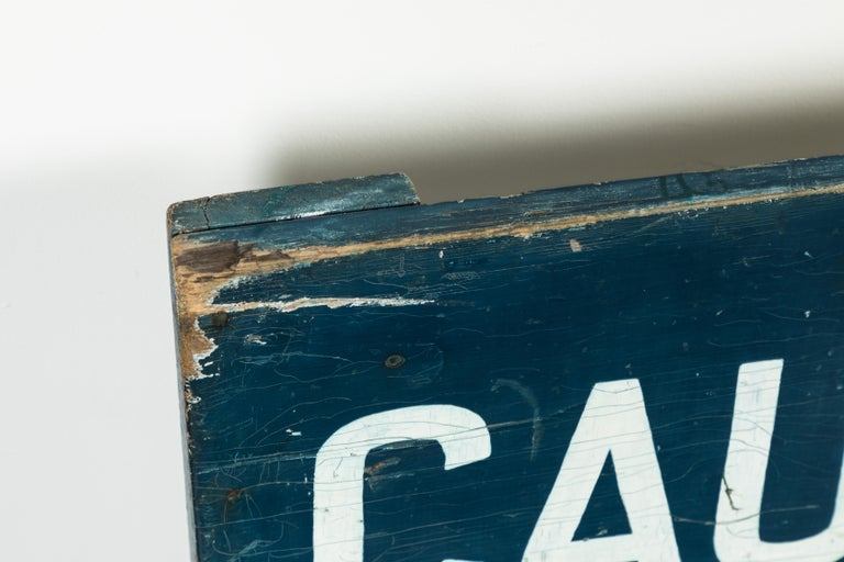 American Caution School Zone WPA Style Wood Sign Red White and Blue Hand Painted For Sale