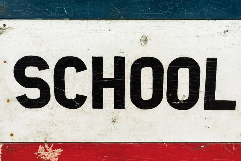 Caution School Zone WPA Style Wood Sign Red White and Blue Hand Painted In Good Condition For Sale In Santa Monica, CA