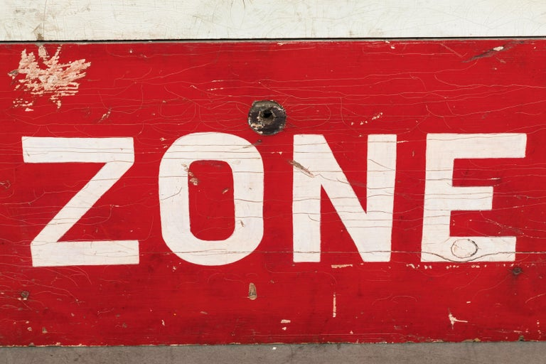 Mid-20th Century Caution School Zone WPA Style Wood Sign Red White and Blue Hand Painted For Sale