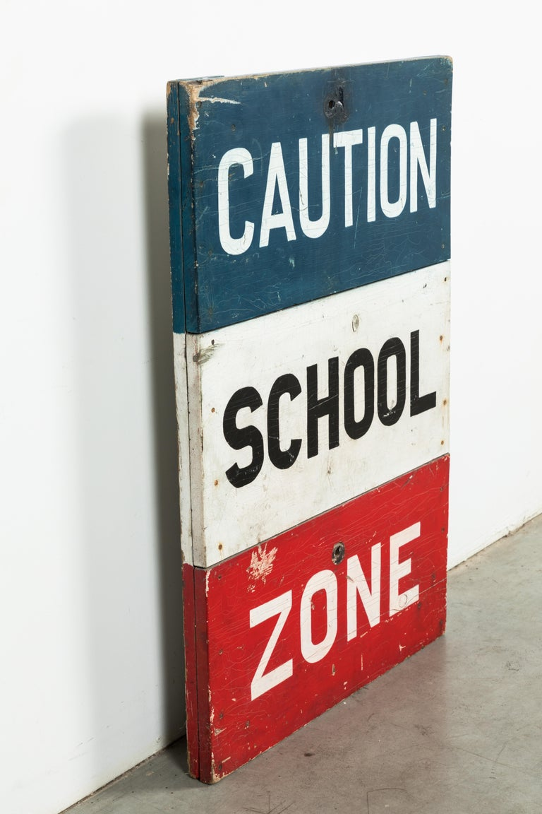 Caution School Zone WPA Style Wood Sign Red White and Blue Hand Painted For Sale 1