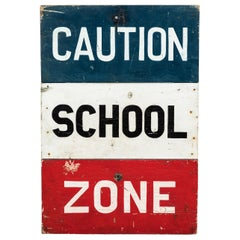 Caution School Zone WPA Style Wood Sign Red White and Blue Hand Painted