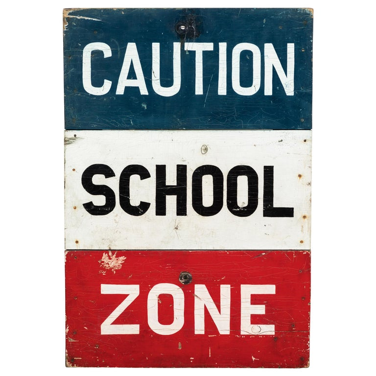 Caution School Zone WPA Style Wood Sign Red White and Blue Hand Painted For Sale