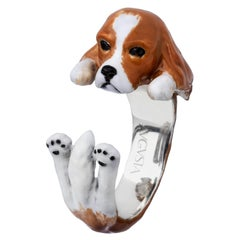 Cavalier King Dog Sterling Silver 925 Enamel Customized Ring