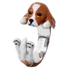 Cavalier King Dog Sterling Silver 925 Enamel Customizable Ring