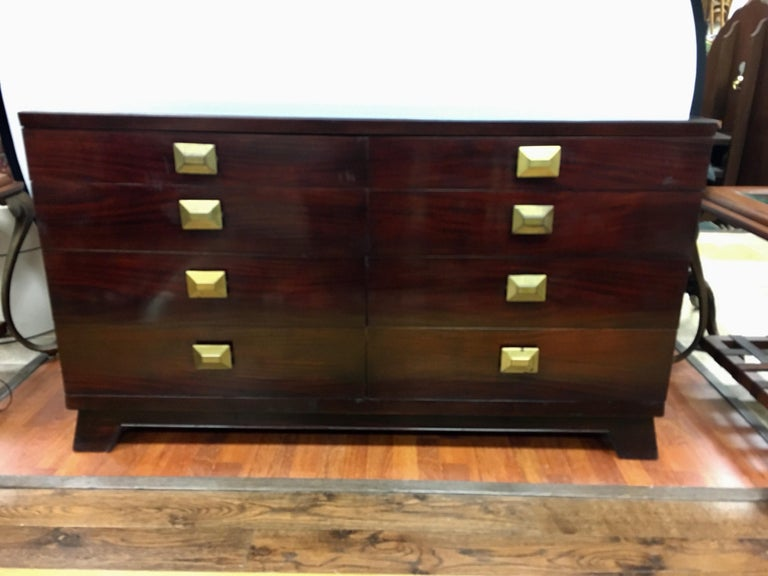 American Cavalier Mid-Century Modern Mahogany Eight-Drawer Dresser Chest For Sale