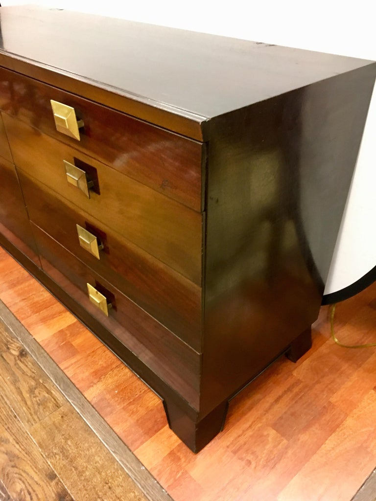 Metal Cavalier Mid-Century Modern Mahogany Eight-Drawer Dresser Chest For Sale