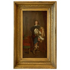 Cavalier Oil Painting on Paper Applied to Wood in a Giltwood Frame, circa 1850