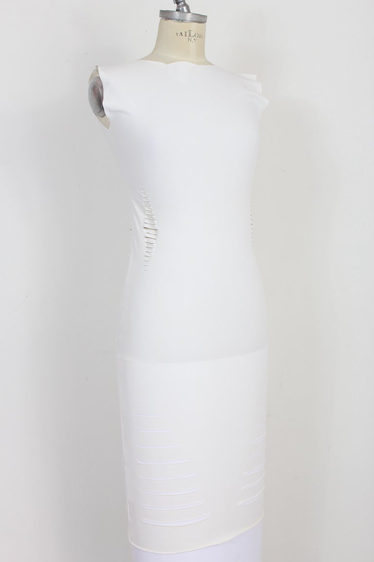 Cavalli White Laser Cut Sheath Fitted Party Dress 2000s For Sale 1