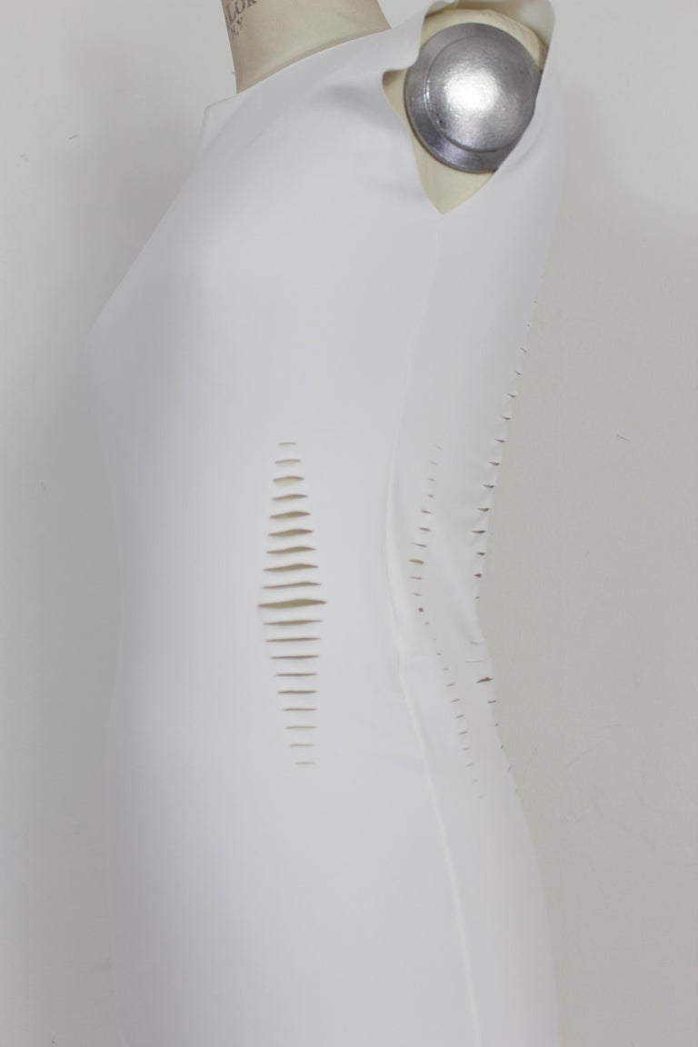 Cavalli White Laser Cut Sheath Fitted Party Dress 2000s For Sale 2