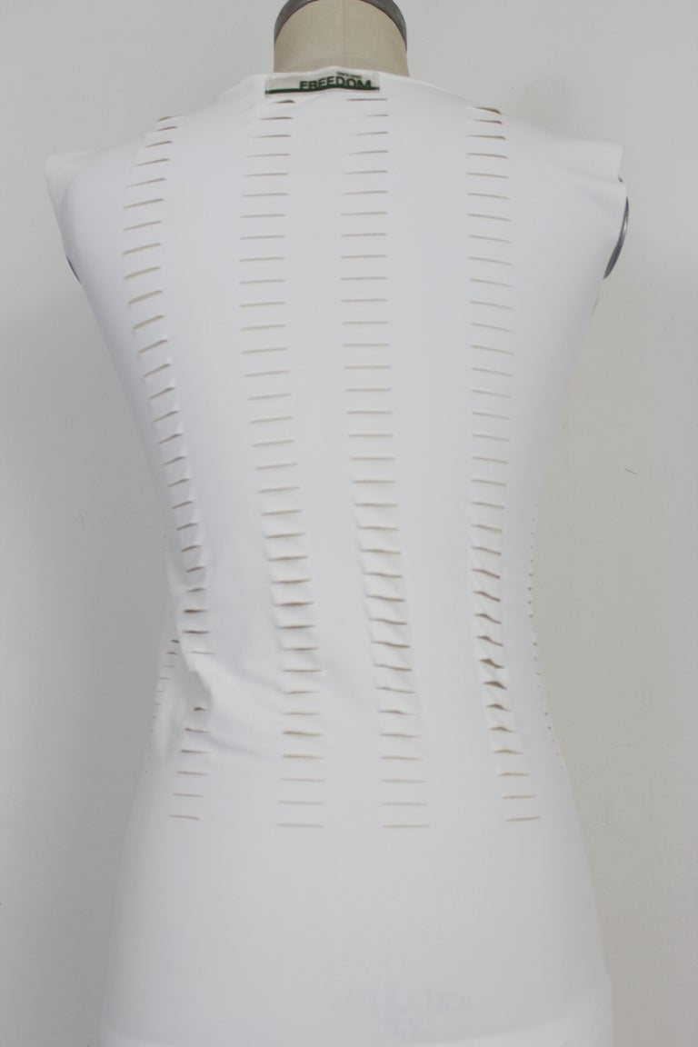 Cavalli White Laser Cut Sheath Fitted Party Dress 2000s For Sale 3