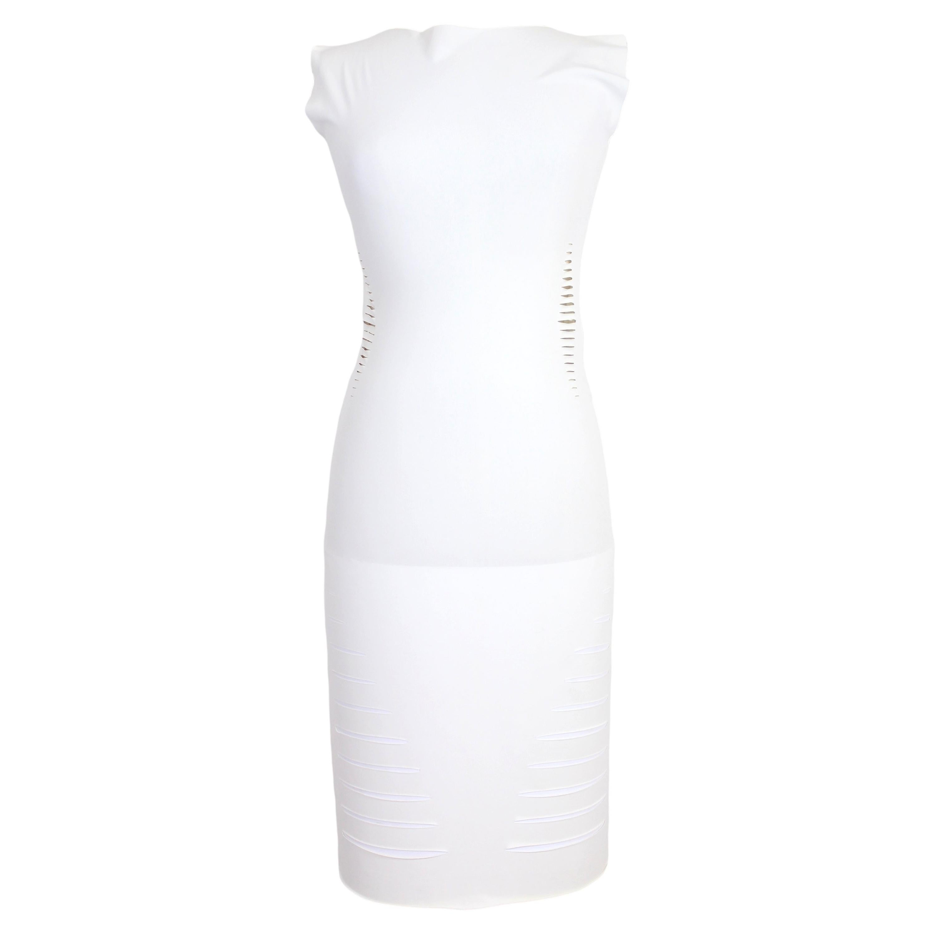 Cavalli White Laser Cut Sheath Fitted Party Dress 2000s