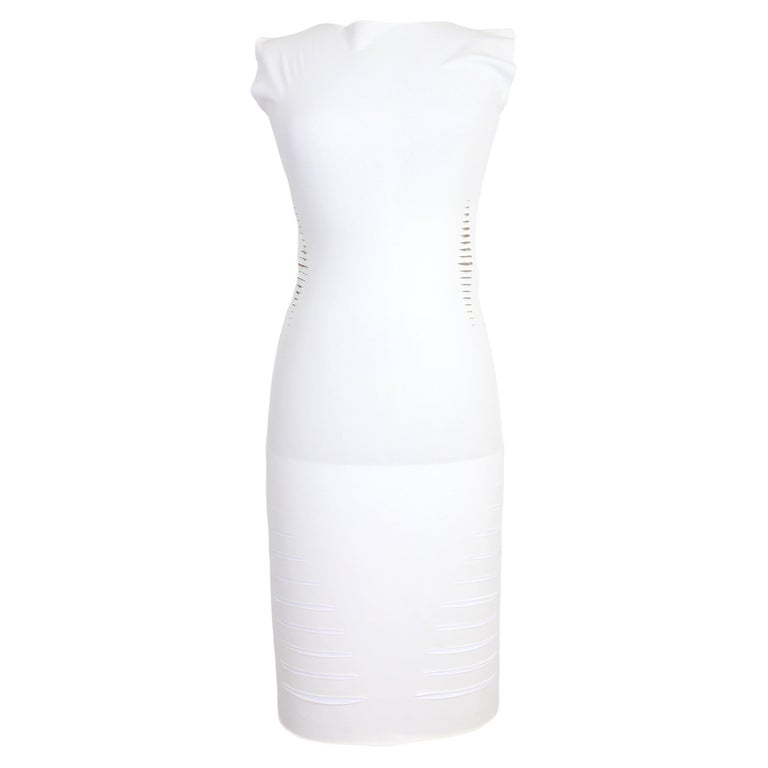 Cavalli White Laser Cut Sheath Fitted Party Dress 2000s For Sale
