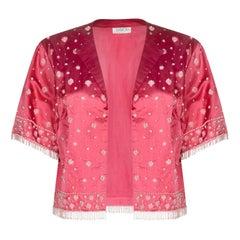 Cavanagh's 1950s Crimson Silk Satin Cropped Beaded Evening Jacket