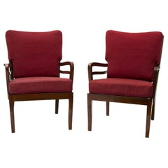 Cavatorta Pair of Armchairs Wood Padded Fabric, 1950, Italy