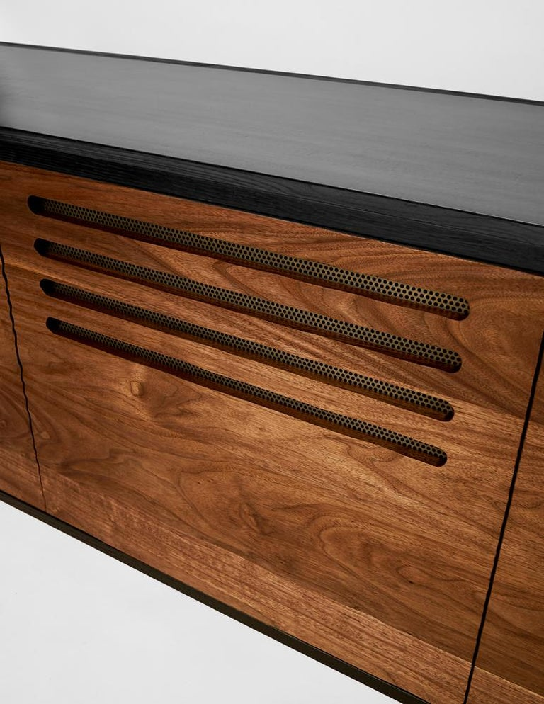 American Cave Credenza Sideboard by Cauv Design Burnt Oak and Walnut Blackened Steel For Sale