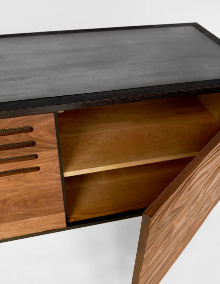 Contemporary Cave Credenza Sideboard by Cauv Design Burnt Oak and Walnut Blackened Steel For Sale