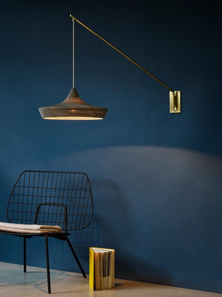Scandinavian Modern Cave Wall Arm Long Light, Hand Crocheted in 100% Mercerized Egyptian Cotton For Sale