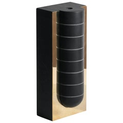 Cavi N.2 Vase in Lavagna Stone/Ardesia and Polished Brass, Limited Edition