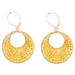Caviar 18 Kt & Sterling Large Round Dangle Earrings, Round 18kt/925 XL Earrings