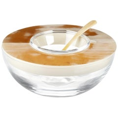 Caviar Bowl and Spoon in Corno Italiano, Crystal and Ivory Lacquer, Mod. 297