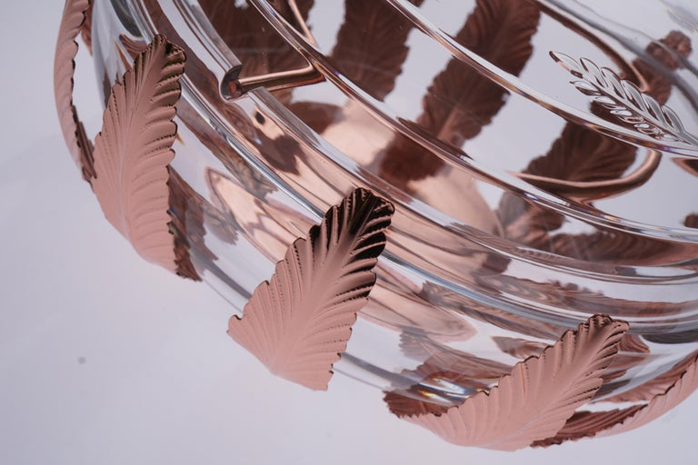 Contemporary Caviar Bowl Crystal and Bronze Covered with Pink Gold For Sale