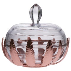 Caviar Bowl Crystal and Bronze Covered with Pink Gold