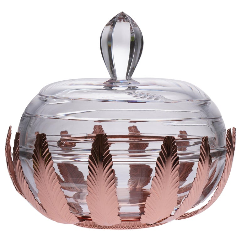 Caviar Bowl Crystal and Bronze Covered with Pink Gold For Sale