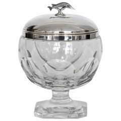 Caviar Bowl Silver 925 Crystal Glass and Sturigeon, 20th Century