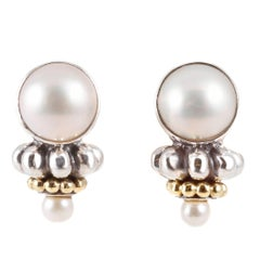 """""""Caviar"""" by """"Lagos"""" Sterling Silver Yellow Gold Pearl Earrings"""