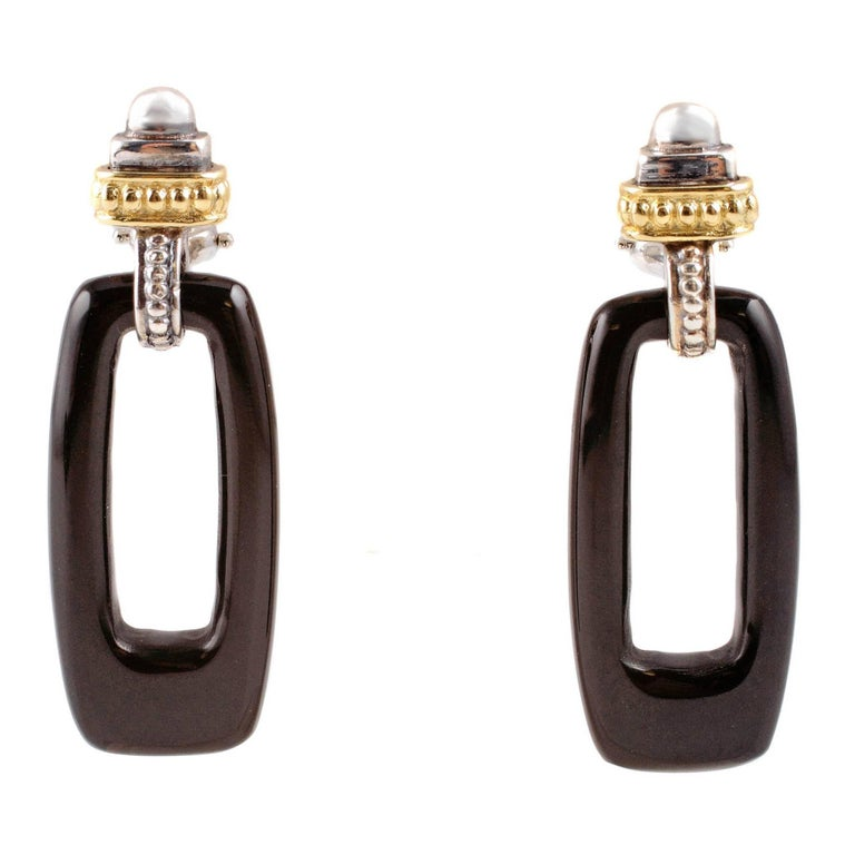 """Caviar"" by ""Lagos"" Yellow Gold Black Ceramic Sterling Silver Earrings"