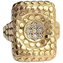 """""""Caviar Crater"""" Tablet Ring in 18 Karat Yellow Gold with Diamonds"""