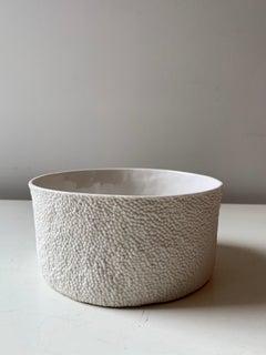 Caviar Micro Texture Porcelain Bowl in White Glaze by Lana Kova