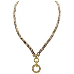 Caviar Style 18 Karat Yellow Gold and Sterling Silver Necklace with Diamonds