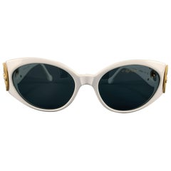 CAVIAR White & Gold Tone Metal Swarovsi Crystal Sunglasses