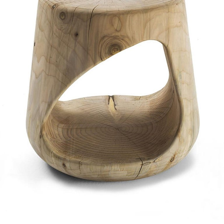 Italian Cavity Stool in Solid Natural Cedar Wood For Sale