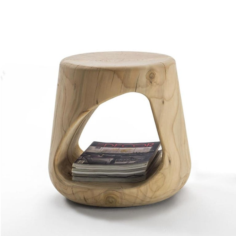 Hand-Crafted Cavity Stool in Solid Natural Cedar Wood For Sale