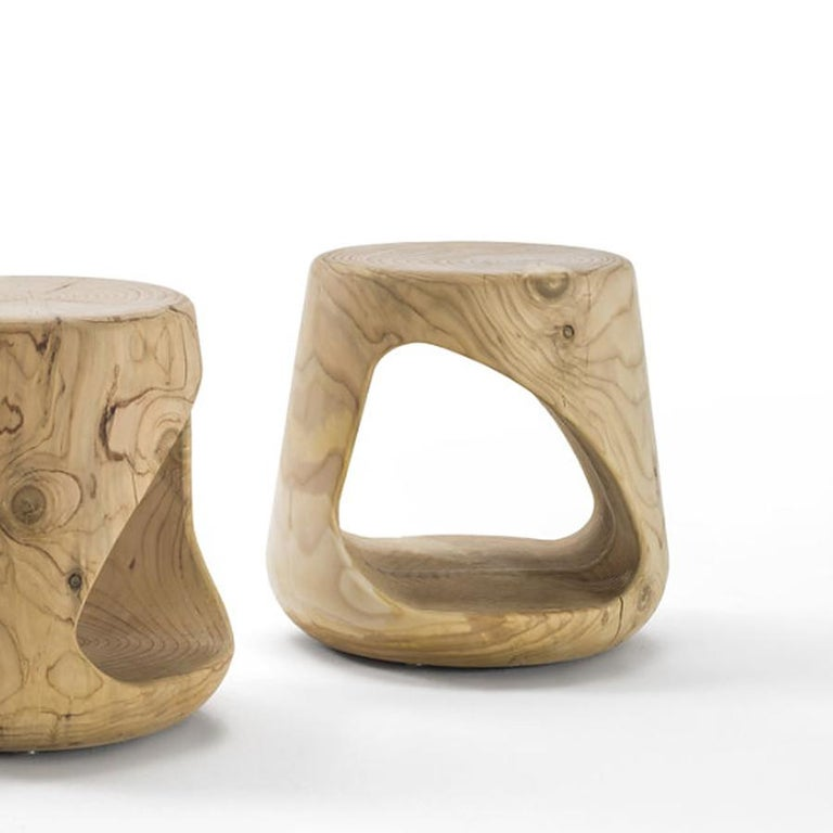 Contemporary Cavity Stool in Solid Natural Cedar Wood For Sale