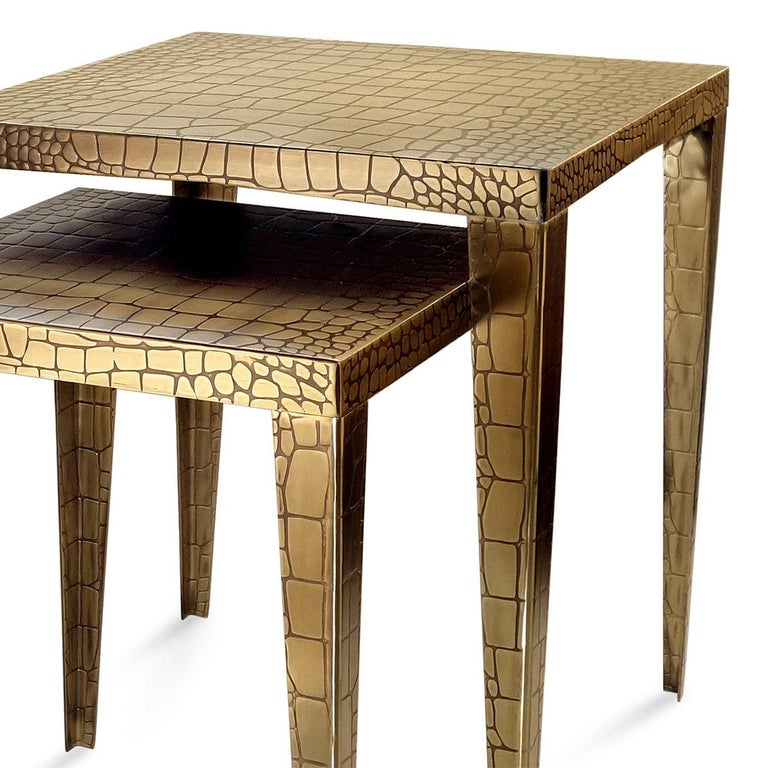 Portuguese Cayman Brass Set of 2 Side Table For Sale