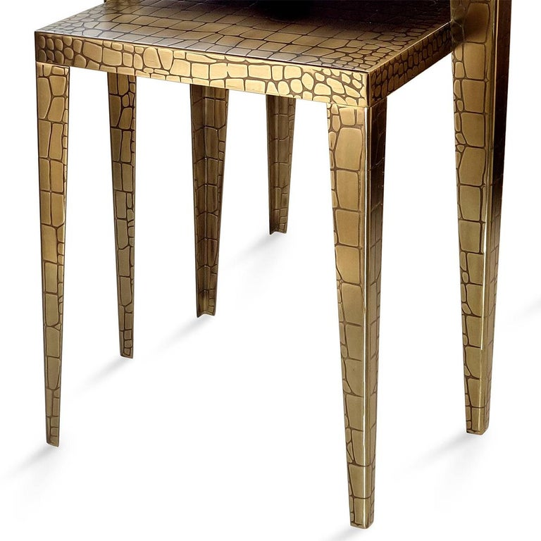 Hand-Crafted Cayman Brass Set of 2 Side Table For Sale