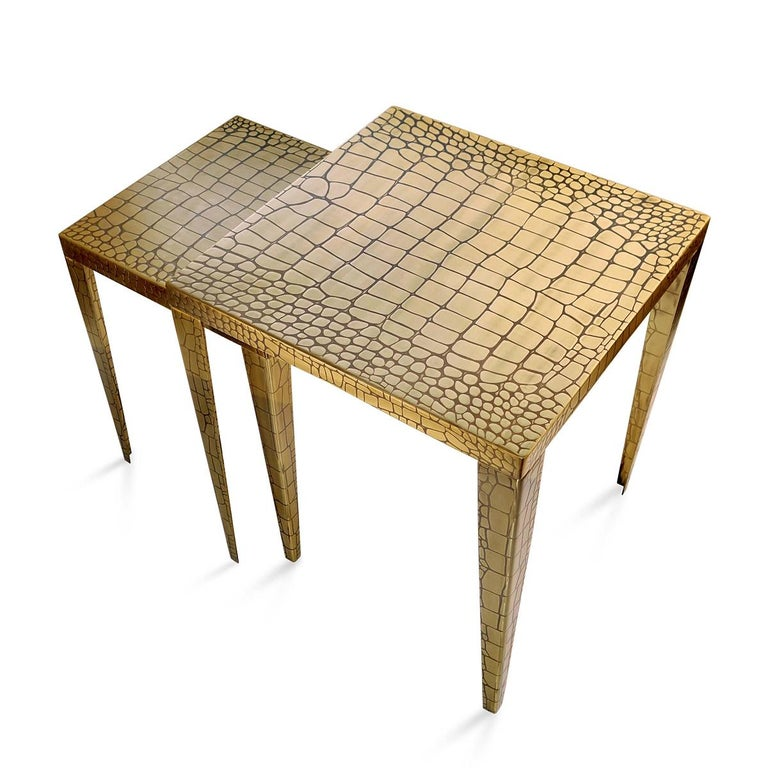 Cayman Brass Set of 2 Side Table In New Condition For Sale In Paris, FR