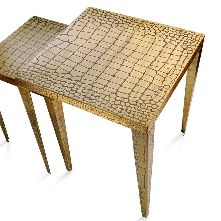 Contemporary Cayman Brass Set of 2 Side Table For Sale