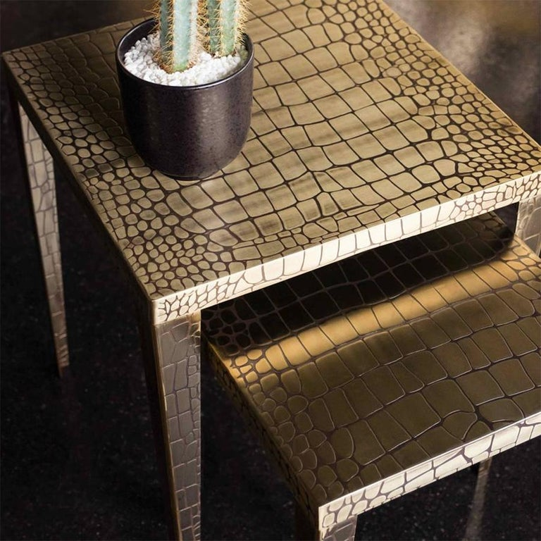 Cayman Brass Set of 2 Side Table For Sale 1