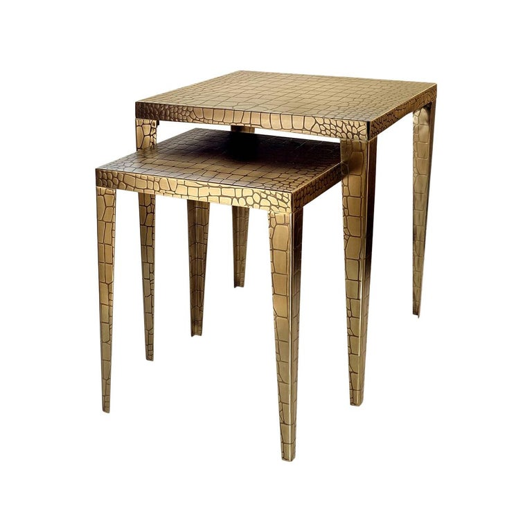 Cayman Brass Set of 2 Side Table For Sale