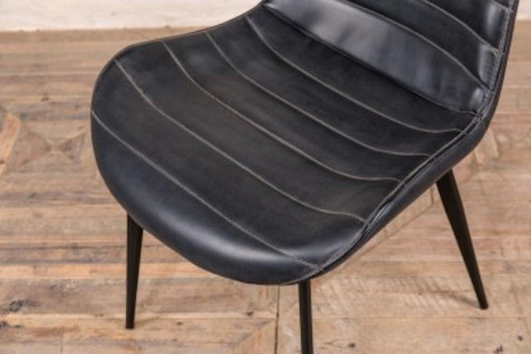 Cayman Faux Leather Dining Room Chairs, Black Leather Dining Room Chairs