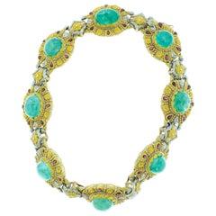 Cazzaniga 1970s Italian Cabochon Emerald Garnet Gold Necklace Earclip