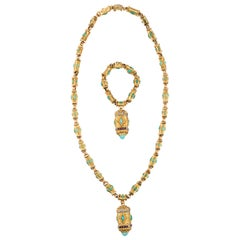 Cazzaniga Byzantine Style Gold Sautoir Necklace and Bracelet with Matching Charm