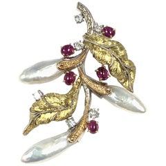 Cazzaniga Large Gold and Gemstone Floral Pendant